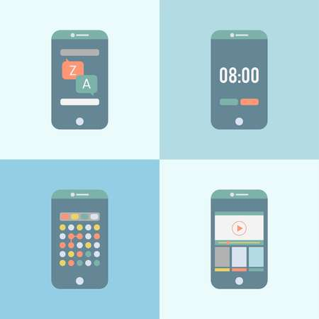 Illustrations of a phone usage