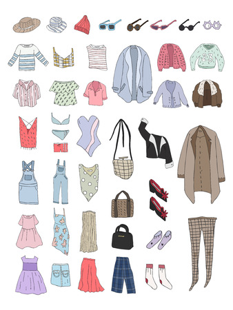 Illustration of different types of clothes Standard-Bild