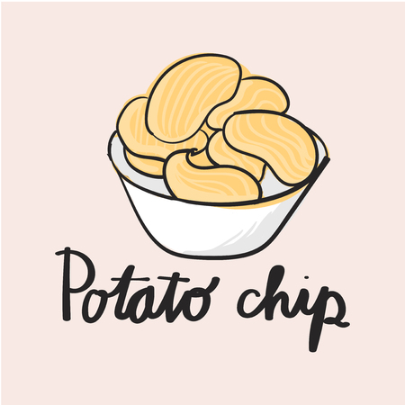 Illustration drawing style of potato chips Stock Photo