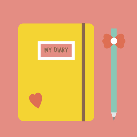 Illustration of a diary and pencil