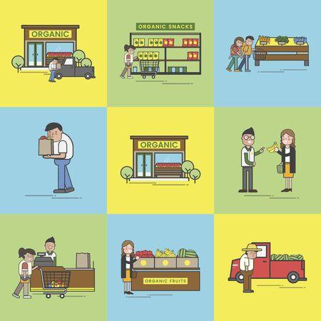 Illustration set of supermarket Banco de Imagens - 97735136