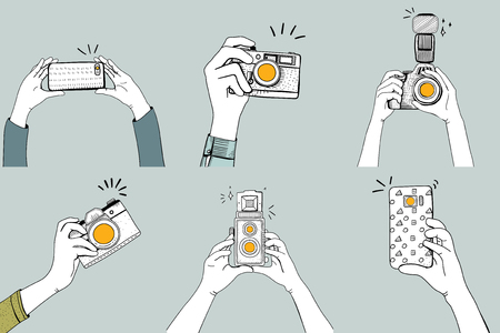 Illustration of hands taking a photo