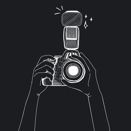 Illustration of DSLR camera
