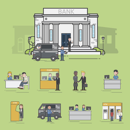 Illustrations of events in a bank Stok Fotoğraf