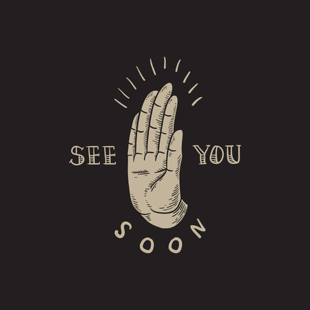 See You Soon Slogan Hand Icon Concept Stock Photo