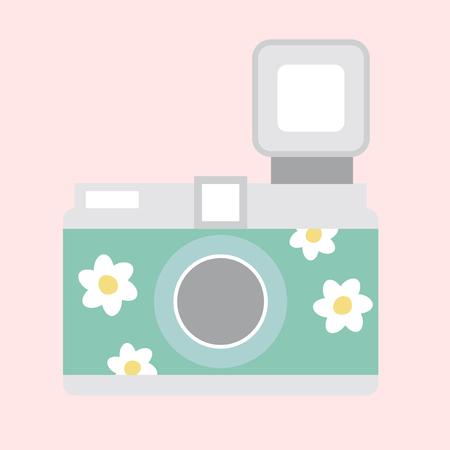 Illustration of a floral camera Imagens - 116605926