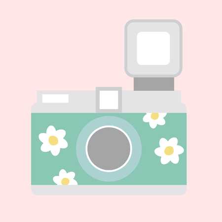Illustration of a floral camera