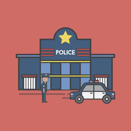 Illustration set of police  Reklamní fotografie