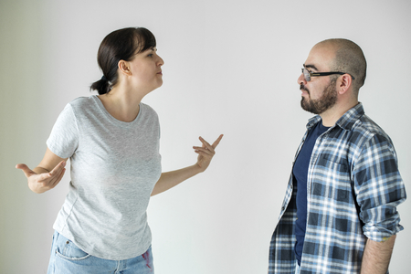 White couple having an argument Stock Photo