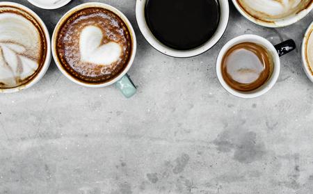 各種コーヒーの空中写真 写真素材