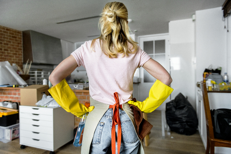 Woman cleaning the house Banco de Imagens - 97631561