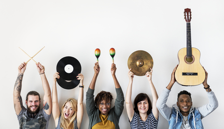People together enjoying music Stock Photo