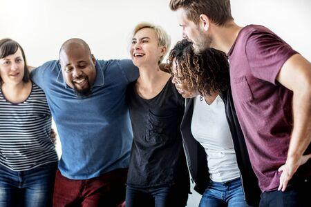 Happy diverse friends