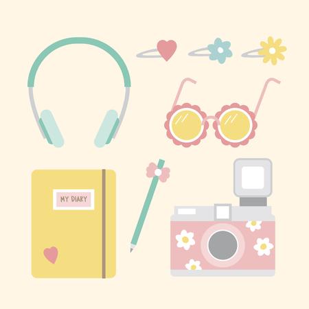 Personal belongings illustration Stock Photo