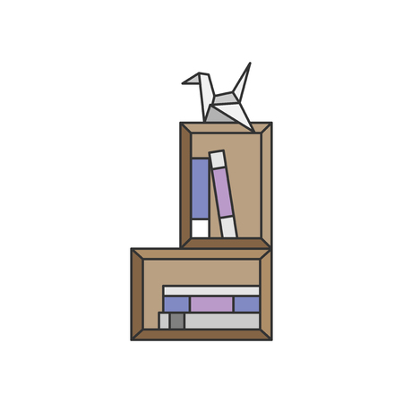 Illustration of origami and a book shelf