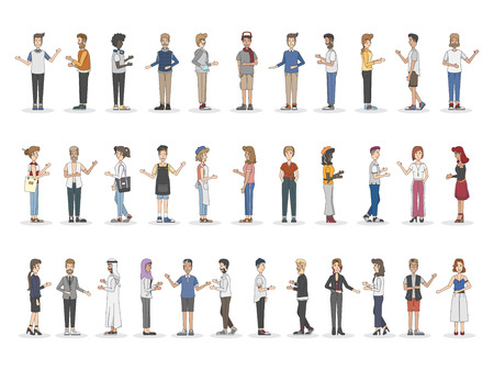 Collection of diverse illustrated people 스톡 콘텐츠