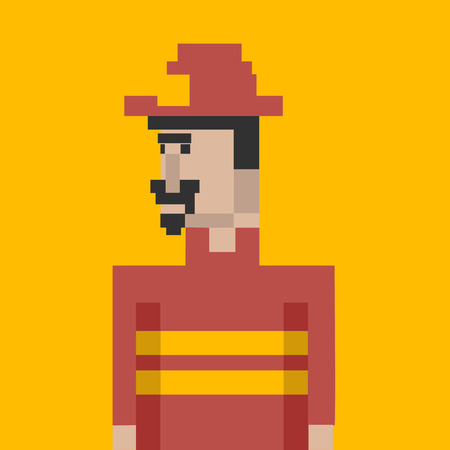 Pixelated fire fighter