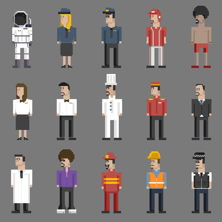 Illustration set of men and professions Stock Photo