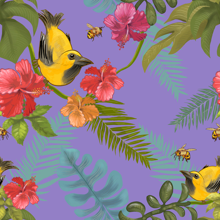 Illustration of tropical birds and plants Imagens