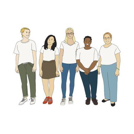 Illustrated diverse casual people Banco de Imagens