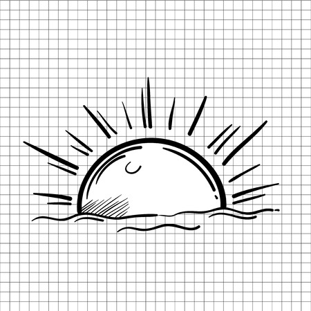 Illustration of sun bright isolated on background Stock Photo