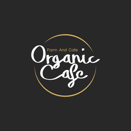 Illustration of organic food stamp banner Stock Photo