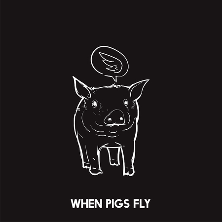 When pigs fly idiom Stock Photo - 98004943