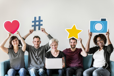 Peopl with social media concept Stock Photo