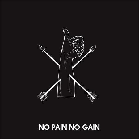 No pain no gain idiom vector