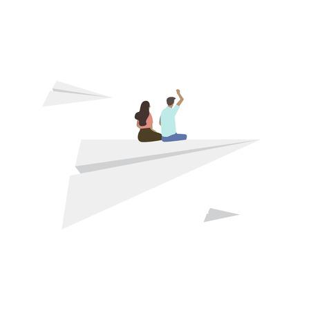 Illustrated people sitting on paper plane Stok Fotoğraf - 98005968