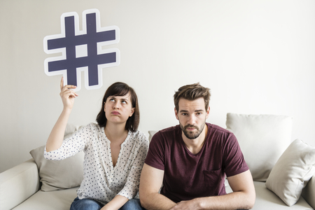 White couple with social media concept