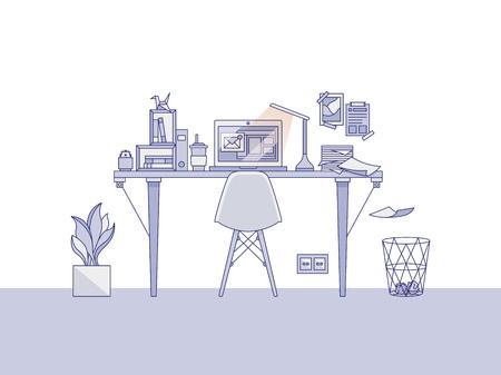 Home office workspace illustration Stock fotó