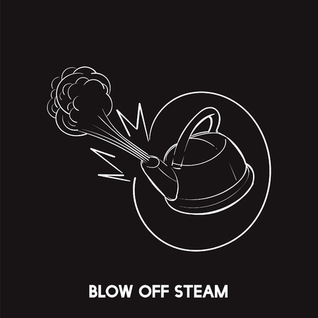 Blow off steam idiom vector Фото со стока