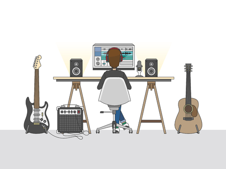 Workspace of an audio engineer or a music producer