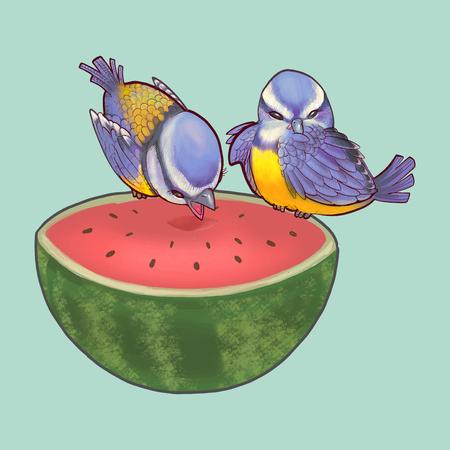 Cute birds eating a watermelon