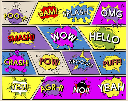Pop art comic expressions Stock Photo