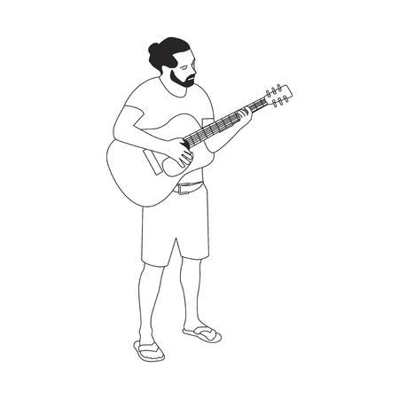ギターを弾くヒラテッドひげの男