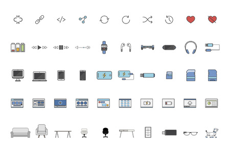 Set of technology icons Imagens