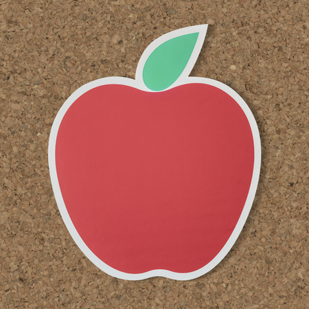 Red apple icon with leaf 스톡 콘텐츠