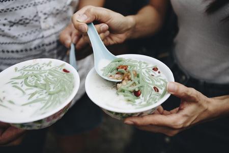 Bowls of fresh cendol dessert 写真素材