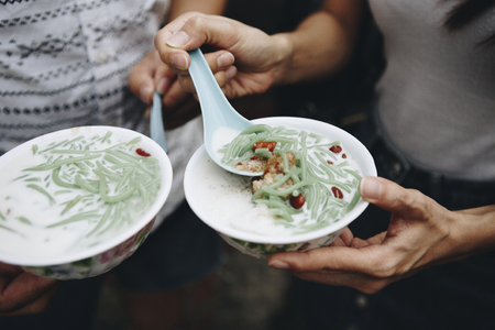 Bowls of fresh cendol dessert Фото со стока