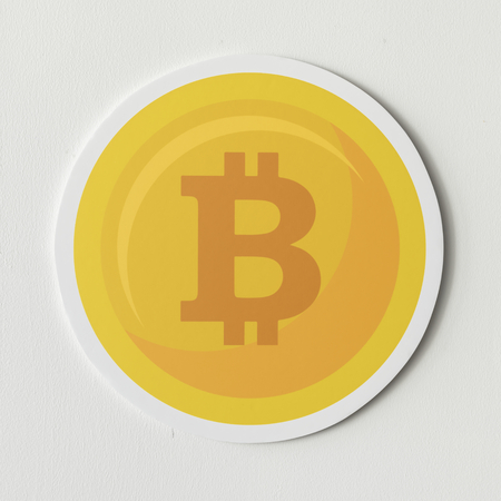 Golden bitcoin cryptocurrency icon isolated Stok Fotoğraf