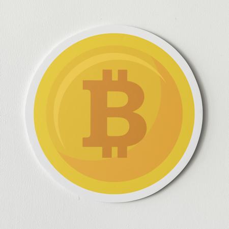 Golden Bitcoin cryptocurrency Symbol isoliert Standard-Bild - 98014654