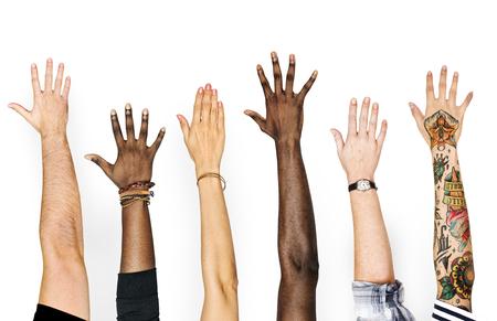 Vielfalt Hände erhoben Geste