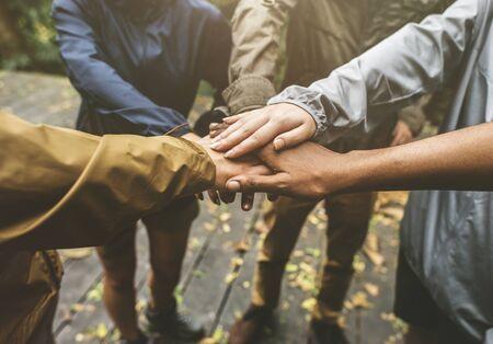 Hands join outdoor together 版權商用圖片 - 98043014