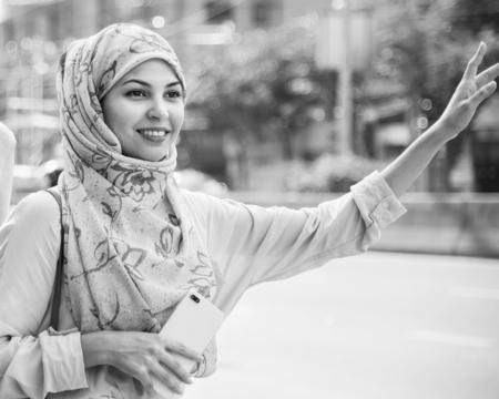 Beautiful muslim woman in the street