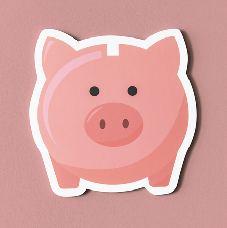 Pink piggy bank savings icon Stok Fotoğraf - 98043027