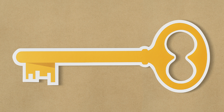 Golden key security access icon
