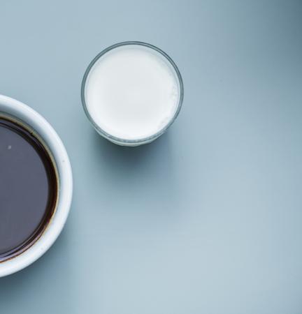 ホットコーヒーの空中写真