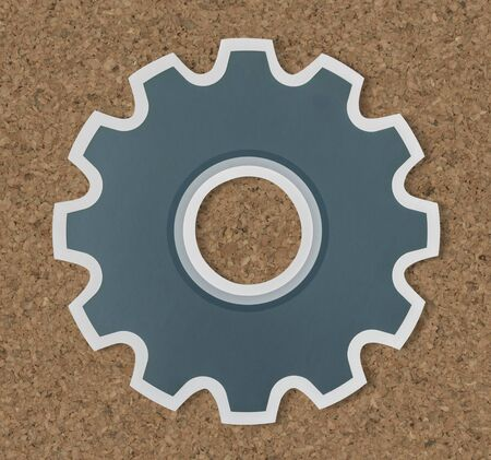 Paper craft of cog wheel icon symbol